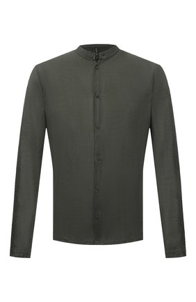 Мужская льняная рубашка TRANSIT хаки цвета, арт. CFUTRNV312 | Фото 1