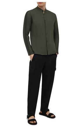Мужская льняная рубашка TRANSIT хаки цвета, арт. CFUTRNV312 | Фото 2