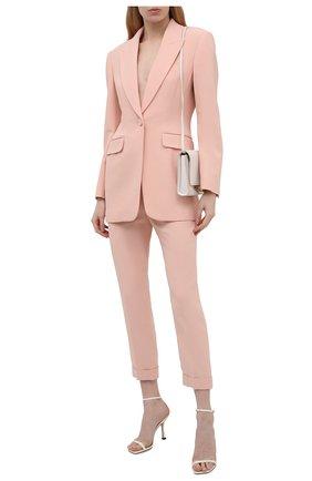 Женские брюки ALEXANDER MCQUEEN светло-розового цвета, арт. 657148/QEAAA | Фото 2 (Материал подклада: Купро; Стили: Кэжуэл; Силуэт Ж (брюки и джинсы): Прямые; Материал внешний: Синтетический материал, Вискоза; Женское Кросс-КТ: Брюки-одежда; Длина (брюки, джинсы): Укороченные)