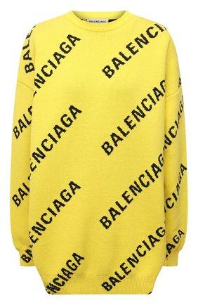 Женский свитер из хлопка и шерсти BALENCIAGA желтого цвета, арт. 657528/T3200 | Фото 1 (Материал внешний: Хлопок; Стили: Спорт-шик; Рукава: Длинные; Женское Кросс-КТ: Свитер-одежда; Длина (для топов): Удлиненные)