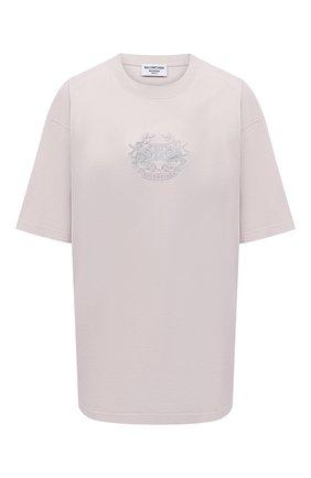 Женская хлопковая футболка BALENCIAGA светло-серого цвета, арт. 641655/TKV71 | Фото 1 (Длина (для топов): Удлиненные; Материал внешний: Хлопок; Принт: С принтом; Женское Кросс-КТ: Футболка-одежда; Стили: Спорт-шик; Рукава: Короткие)