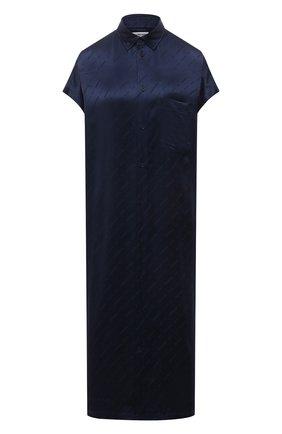 Женское шелковое платье BALENCIAGA синего цвета, арт. 576677/TKN02 | Фото 1