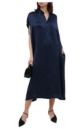 Женское шелковое платье BALENCIAGA синего цвета, арт. 576677/TKN02 | Фото 2