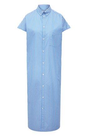 Женское хлопковое платье BALENCIAGA голубого цвета, арт. 576677/TKM14 | Фото 1