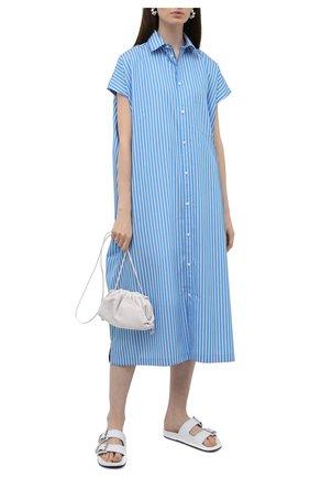 Женское хлопковое платье BALENCIAGA голубого цвета, арт. 576677/TKM14 | Фото 2