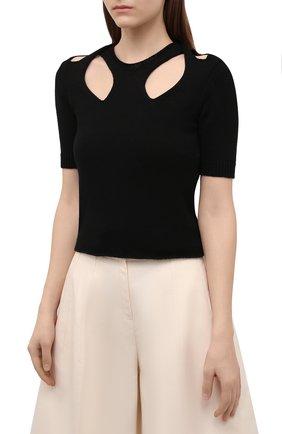 Женский пуловер из хлопка и шерсти CHLOÉ черного цвета, арт. CHC21UMP22600 | Фото 2
