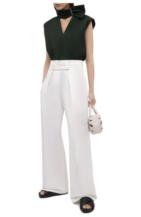 Женские брюки из хлопка и шелка JIL SANDER белого цвета, арт. JSWS305005-WS251400 | Фото 2
