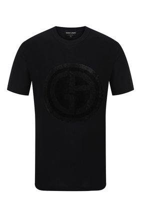 Мужская футболка из вискозы GIORGIO ARMANI темно-синего цвета, арт. 3KSM66/SJSVZ | Фото 1
