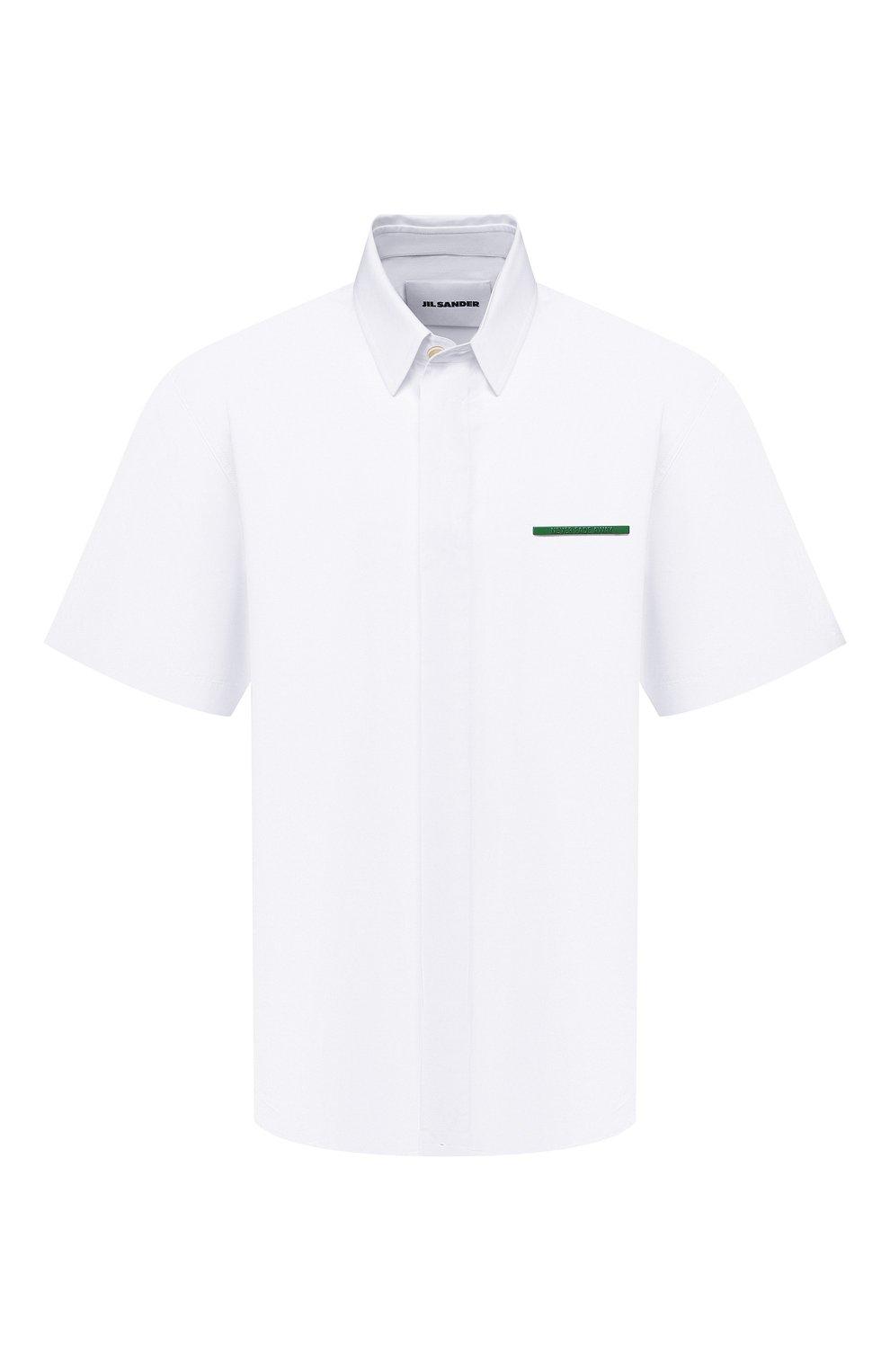 Мужская хлопковая рубашка JIL SANDER белого цвета, арт. JSMS740626-MS244200   Фото 1 (Воротник: Кент; Рубашки М: Classic Fit; Рукава: Короткие; Случай: Повседневный; Длина (для топов): Стандартные; Материал внешний: Хлопок; Принт: Однотонные; Стили: Кэжуэл)