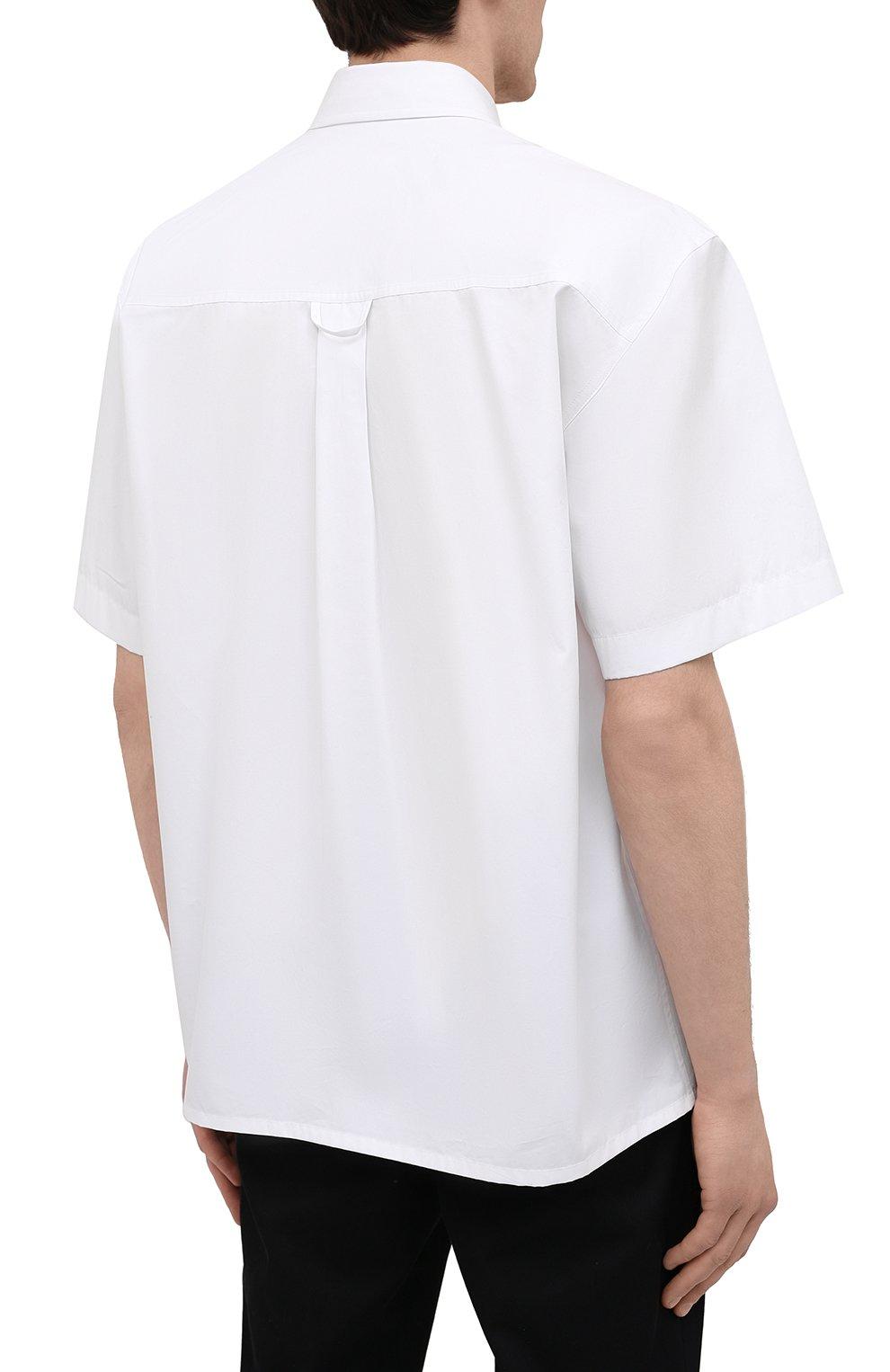 Мужская хлопковая рубашка JIL SANDER белого цвета, арт. JSMS740626-MS244200   Фото 4 (Воротник: Кент; Рубашки М: Classic Fit; Рукава: Короткие; Случай: Повседневный; Длина (для топов): Стандартные; Материал внешний: Хлопок; Принт: Однотонные; Стили: Кэжуэл)