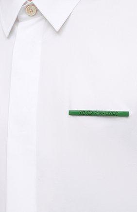 Мужская хлопковая рубашка JIL SANDER белого цвета, арт. JSMS740626-MS244200   Фото 5 (Воротник: Кент; Рубашки М: Classic Fit; Рукава: Короткие; Случай: Повседневный; Длина (для топов): Стандартные; Материал внешний: Хлопок; Принт: Однотонные; Стили: Кэжуэл)