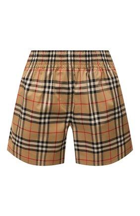 Женские хлопковые шорты BURBERRY бежевого цвета, арт. 8040598 | Фото 1