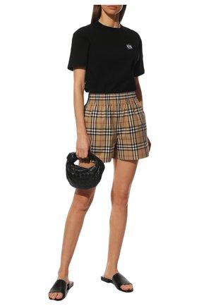 Женские хлопковые шорты BURBERRY бежевого цвета, арт. 8040598 | Фото 2