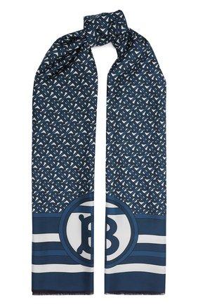 Женский шелковый шарф BURBERRY темно-синего цвета, арт. 8039620 | Фото 1