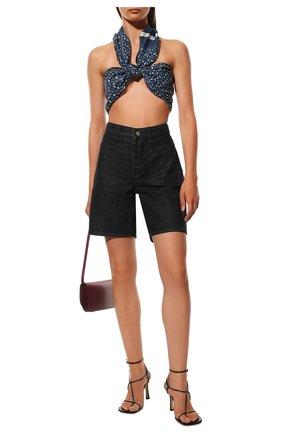 Женский шелковый шарф BURBERRY темно-синего цвета, арт. 8039620 | Фото 2