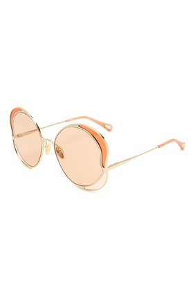 Женские солнцезащитные очки CHLOÉ золотого цвета, арт. CH0024S | Фото 1 (Тип очков: С/з; Очки форма: Круглые)