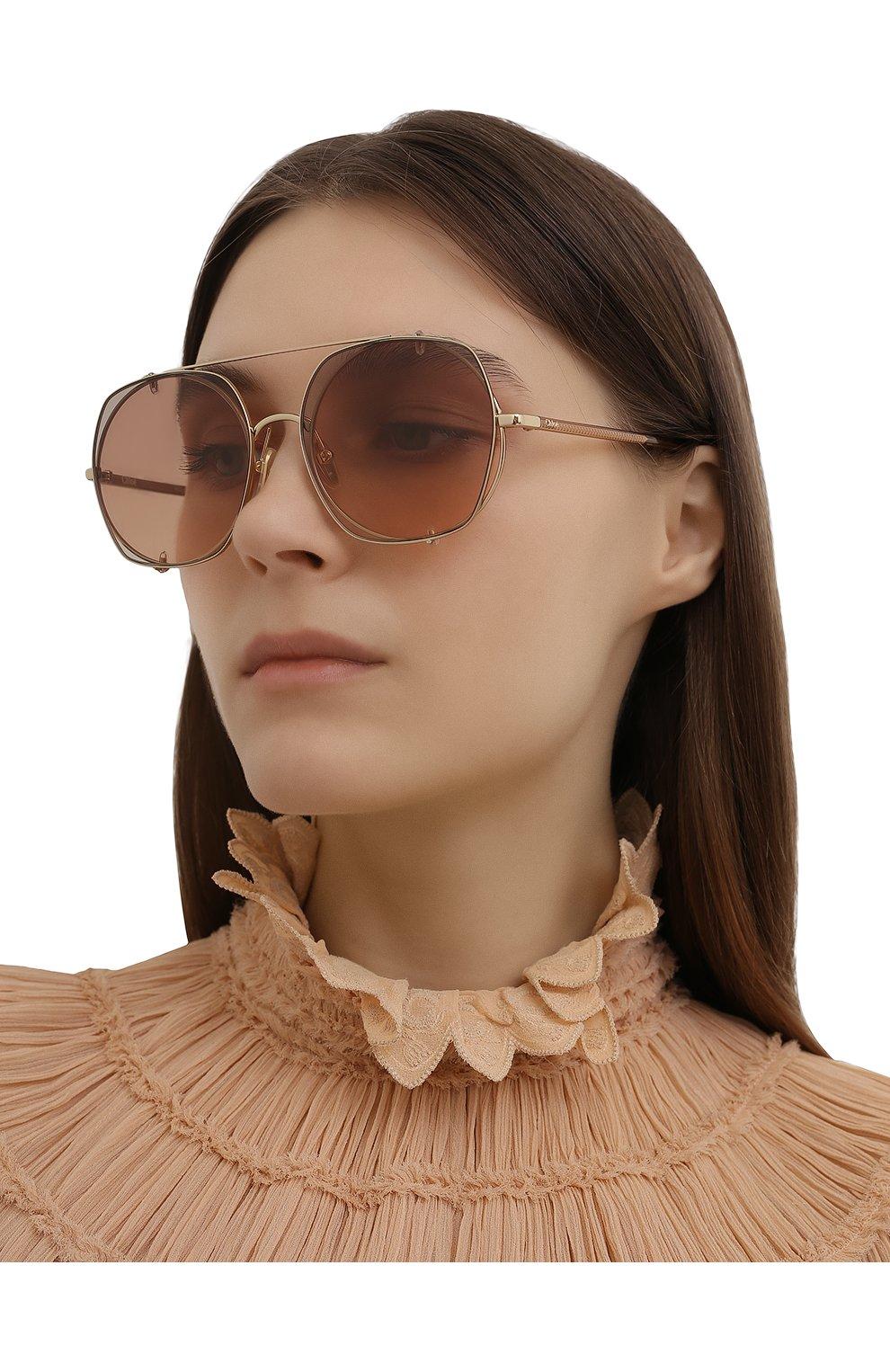 Женские солнцезащитные очки CHLOÉ коричневого цвета, арт. CH0042S | Фото 2
