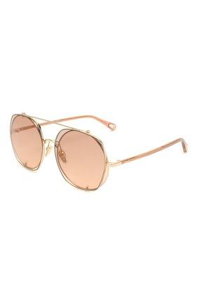 Женские солнцезащитные очки CHLOÉ коричневого цвета, арт. CH0042S | Фото 6