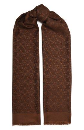 Женский шарф из шелка и шерсти VALENTINO темно-коричневого цвета, арт. VW0ED007/AJB | Фото 1