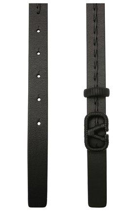 Женский кожаный ремень  VALENTINO черного цвета, арт. VW2T0S12/HEW | Фото 2 (Материал: Кожа)