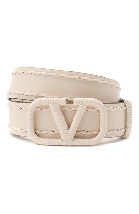 Женский кожаный ремень  VALENTINO кремвого цвета, арт. VW2T0S11/HEW | Фото 1 (Материал: Кожа)