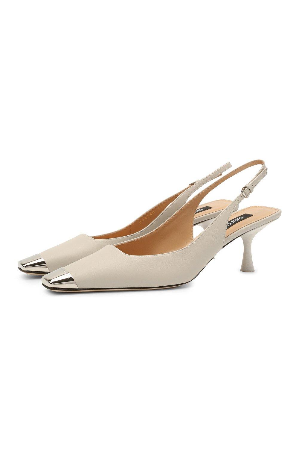 Женские кожаные туфли sr twenty SERGIO ROSSI светло-серого цвета, арт. A94360-MNAN07   Фото 1 (Материал внутренний: Натуральная кожа; Каблук высота: Средний; Каблук тип: Шпилька; Подошва: Плоская)