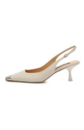 Женские кожаные туфли sr twenty SERGIO ROSSI светло-серого цвета, арт. A94360-MNAN07   Фото 3 (Материал внутренний: Натуральная кожа; Каблук высота: Средний; Каблук тип: Шпилька; Подошва: Плоская)