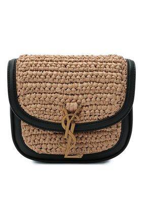 Женская сумка kaia small SAINT LAURENT бежевого цвета, арт. 619740/GG66W | Фото 1 (Ремень/цепочка: На ремешке; Размер: small; Материал: Текстиль; Сумки-технические: Сумки через плечо)