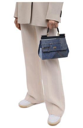 Женская сумка sicily small DOLCE & GABBANA синего цвета, арт. BB6003/A0621   Фото 2 (Материал: Натуральная кожа, Текстиль; Сумки-технические: Сумки top-handle, Сумки через плечо; Размер: small; Ремень/цепочка: На ремешке)