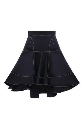 Женская хлопковая юбка ALEXANDER MCQUEEN темно-синего цвета, арт. 657135/QFAAJ | Фото 1 (Материал внешний: Хлопок; Материал подклада: Хлопок; Стили: Романтичный; Женское Кросс-КТ: Юбка-одежда; Кросс-КТ: Деним; Длина Ж (юбки, платья, шорты): Мини)