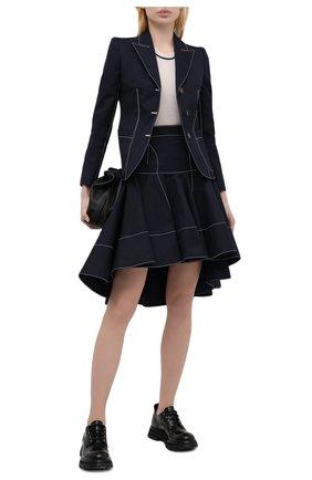 Женская хлопковая юбка ALEXANDER MCQUEEN темно-синего цвета, арт. 657135/QFAAJ | Фото 2 (Материал внешний: Хлопок; Материал подклада: Хлопок; Стили: Романтичный; Женское Кросс-КТ: Юбка-одежда; Кросс-КТ: Деним; Длина Ж (юбки, платья, шорты): Мини)