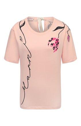 Женская хлопковая футболка MARNI розового цвета, арт. THJE0220P1/USCR28 | Фото 1