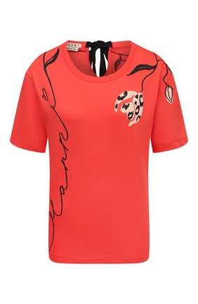 Женская хлопковая футболка MARNI красного цвета, арт. THJE0220P1/USCR28 | Фото 1
