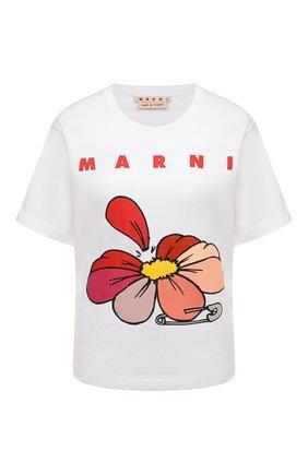 Женская хлопковая футболка MARNI белого цвета, арт. THJEL32EPT/USCR14 | Фото 1