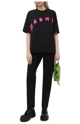 Женская хлопковая футболка MARNI черного цвета, арт. THJET49EPF/USCR13 | Фото 2