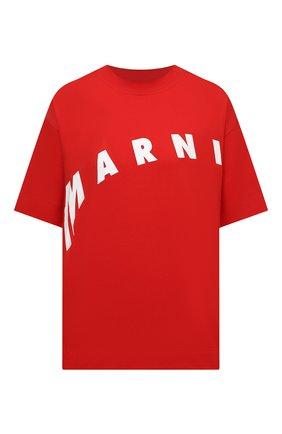 Женская хлопковая футболка MARNI красного цвета, арт. THJET49EPF/USCR13 | Фото 1