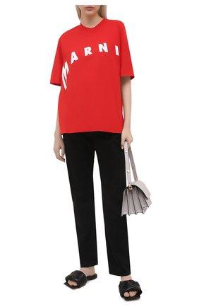 Женская хлопковая футболка MARNI красного цвета, арт. THJET49EPF/USCR13 | Фото 2