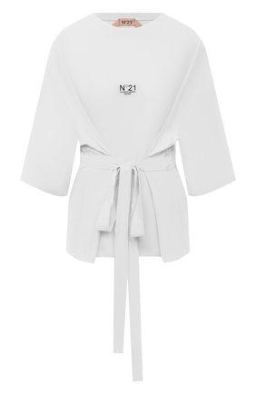 Женская хлопковая футболка N21 белого цвета, арт. 21E N2M0/F091/6314   Фото 1