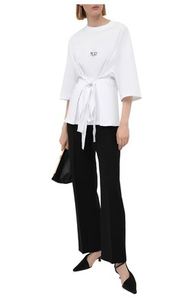 Женская хлопковая футболка N21 белого цвета, арт. 21E N2M0/F091/6314   Фото 2