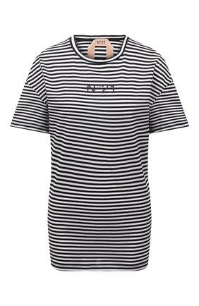 Женская хлопковая футболка N21 черно-белого цвета, арт. 21E N2M0/F053/4213 | Фото 1