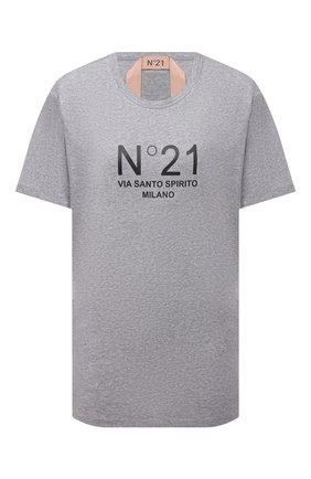 Женская хлопковая футболка N21 серого цвета, арт. 21E N2M0/F051/6314 | Фото 1