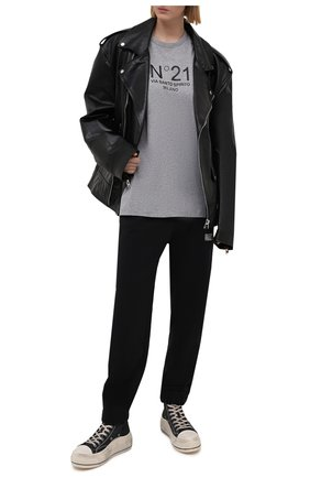 Женская хлопковая футболка N21 серого цвета, арт. 21E N2M0/F051/6314 | Фото 2