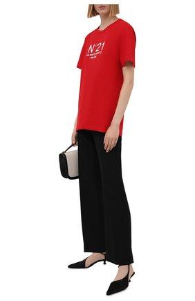 Женская хлопковая футболка N21 красного цвета, арт. 21E N2M0/F051/6314 | Фото 2