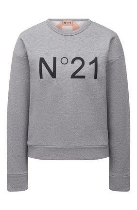 Женский хлопковый свитшот N21 серого цвета, арт. 21E N2M0/E041/6313 | Фото 1