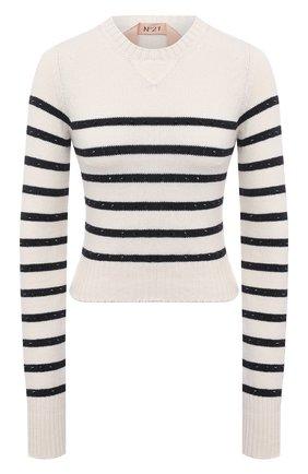 Женский хлопковый свитер N21 кремвого цвета, арт. 21E N2M0/A016/7590 | Фото 1