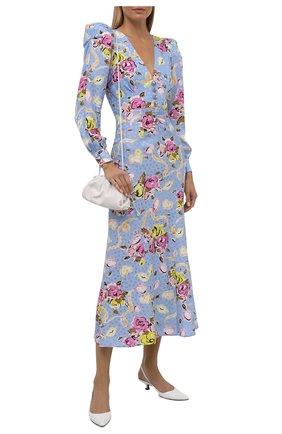 Женское шелковое платье ALESSANDRA RICH голубого цвета, арт. FAB2491-F3166 | Фото 2