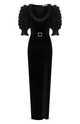 Женское платье из вискозы и шелка ALESSANDRA RICH черного цвета, арт. FAB2389-F2603   Фото 1