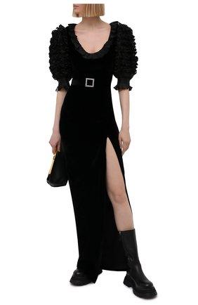 Женское платье из вискозы и шелка ALESSANDRA RICH черного цвета, арт. FAB2389-F2603   Фото 2