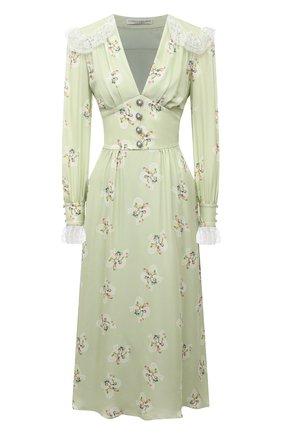 Женское шелковое платье ALESSANDRA RICH светло-зеленого цвета, арт. FAB2370-F3102 | Фото 1