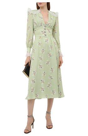 Женское шелковое платье ALESSANDRA RICH светло-зеленого цвета, арт. FAB2370-F3102 | Фото 2